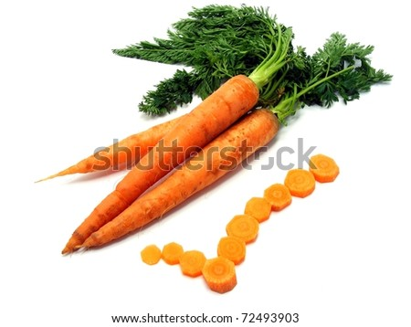 Fresh carrots with a yes tick on a white background