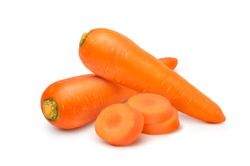 Fresh Carrots with sliced isolated on white background.