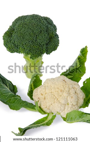 Fresh cauliflower and broccoli