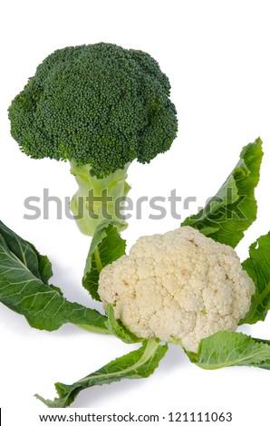 Fresh cauliflower and broccoli
