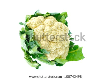 Fresh cauliflower isolated on white background - stock photo