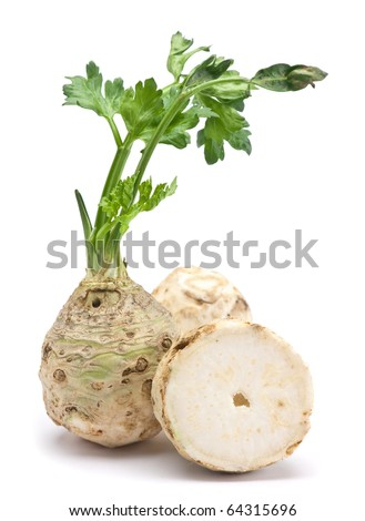 Fresh celery with root leaf on white background - stock photo