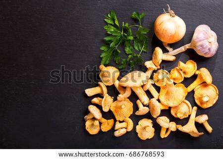 fresh chanterelle mushrooms...