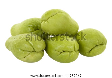 Fresh chayote; isolated, two clipping paths included