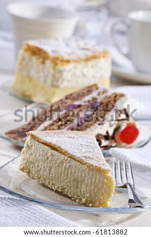 Fresh cheese cake on a plate close up shoot