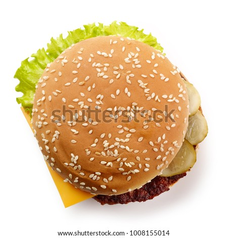 fresh cheeseburger isolated on white background, top view #1008155014
