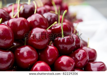 fresh cherries in food market