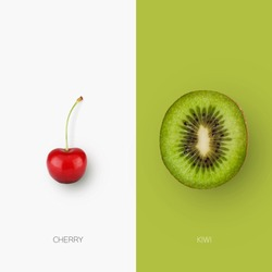 Fresh Cherry And Kiwi Half Isolated On Contrast White And Green Backgrounds. Collage Of Healthy Tasty Fruit Couple, Minimalistic Style, Natural Organic Food Concept, Square Shot.