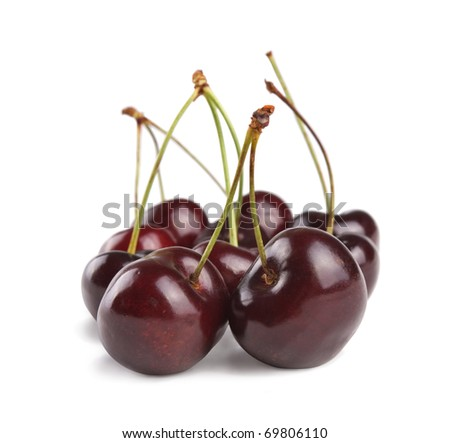 fresh cherry fruits isolated on white background