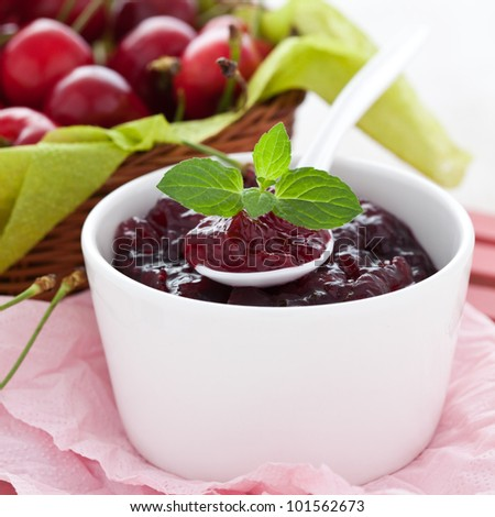 fresh cherry jam with mint