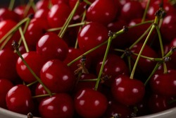 Fresh cherry on a plate with summer flowers. fresh ripe berries. cherries. Close-up