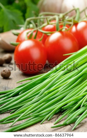 Fresh cherry tomatoes and chives