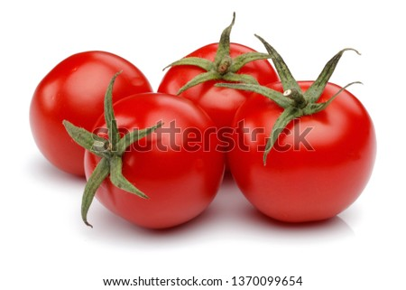 Fresh cherry tomatoes isolated on white background #1370099654