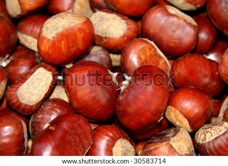 Fresh chestnuts for sale at a market