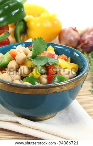 fresh chick pea salad with peppers, scallions and cilantro