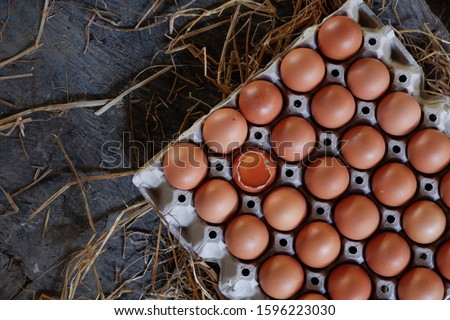 Fresh chicken egg is half broken among other eggs are placed in an egg panel on a wooden with straw as background copy space. Copy space. Top view. Concept for organic farming.