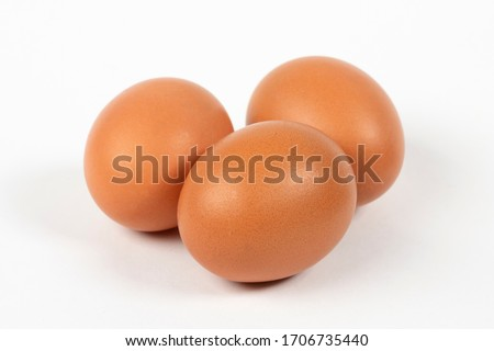 Fresh chicken eggs on white background Imagine de stoc ©