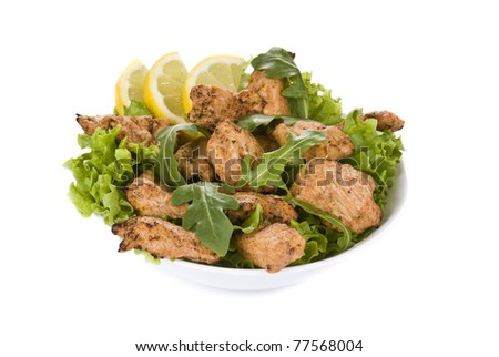 Fresh chicken salad isolated on white background