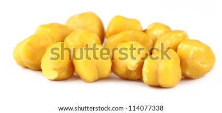 Fresh chickpeas over white background