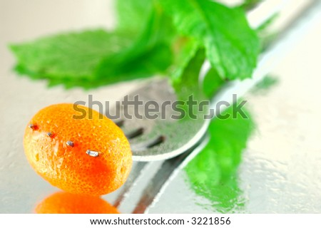Fresh chilled kumquats with mint on a reflective background with a shallow depth of field