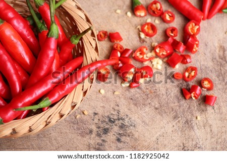 Fresh chilli on wooden