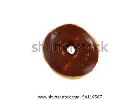 fresh choclate glazed donut isolated on white