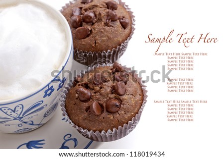 Fresh chocolate chip muffins with coffee cup, isolated on white background with sample text