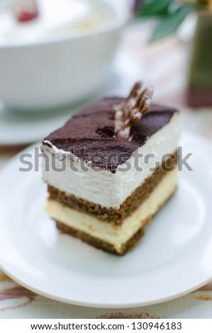 Fresh chocolate cream cake , Homemade Tiramisu