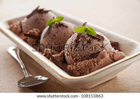 Fresh chocolate ice cream close up shoot