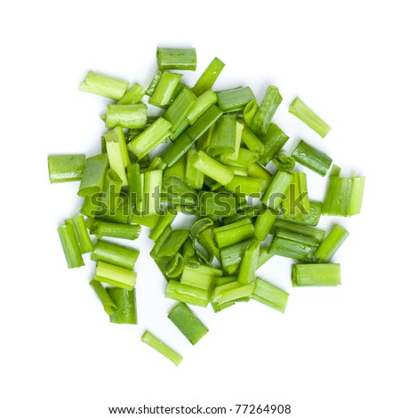 fresh chopped green onions isolated on white