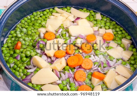 Fresh chopped vegetable in the pan - stock photo