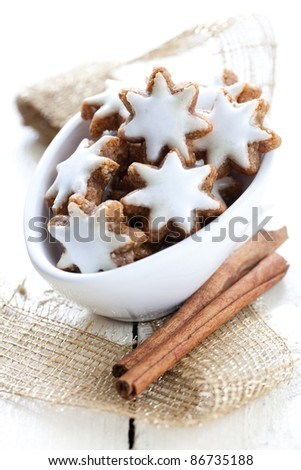 fresh cinnamon star cokkies in a bowl with cinnamon