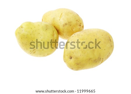 Fresh clean potatoes on white background