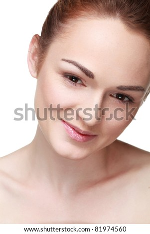 Fresh clear healthy skin on the face of beautiful woman  isolated on white