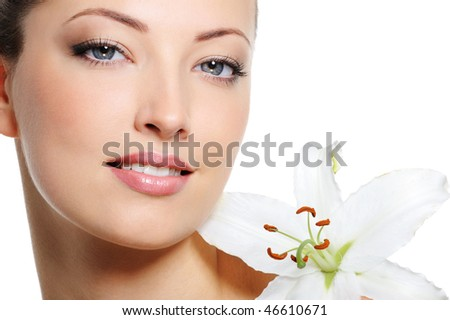 Fresh clear healthy skin on the face of beautiful woman over white background