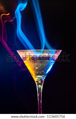 fresh cocktail on the black background