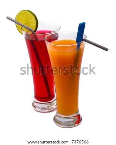 fresh cocktails isolated on a white background