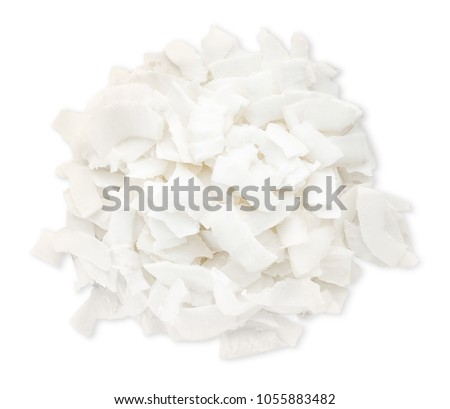 Fresh coconut flakes on white background #1055883482