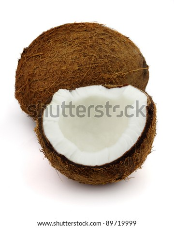 Fresh coconut on a white background