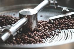 fresh coffee beans in roast machine, arabica roasted coffee