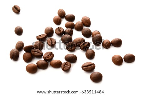 Fresh Coffee beans isolated on white background, Coffee isolated, closeup coffee isolated