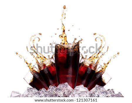 Fresh cola drink background with ice and splash isolated on a white