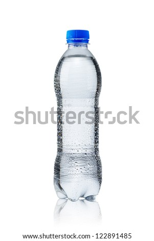 Fresh cold water bottle on white