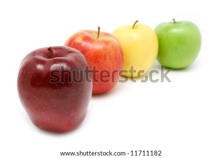 Fresh colorful apples: Red Delicious, Jonagold, Golden Delicious and Granny Smith Green Apple