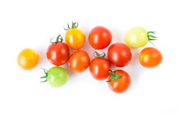 Fresh colorful cherry tomatoes on white background, raw food and vegetable concept