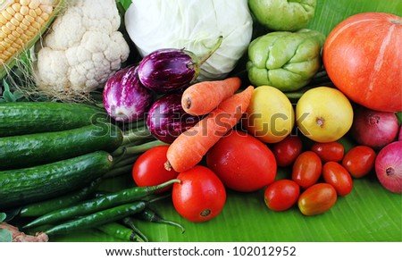 Fresh colorful vegetables from organic farm showing various vegetables including cucumber, tomato, brinjal, carrot etc.