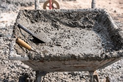 Fresh concrete for Concrete Slump Test checking workability and measurement.