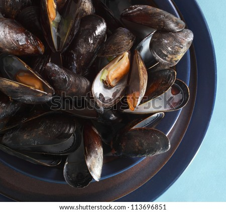 fresh cooked mussels in a black bowl