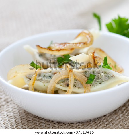 fresh cooked ravioli with onions and parsley - stock photo
