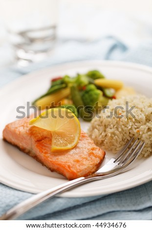 fresh cooked salmon filet meal with vegetables and rice on the side. Very shallow depth of field.